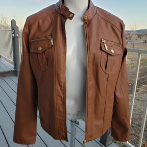 🌺 Worn just once! Brown faux leather jacket 🌺